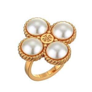 Tory Burch Gold Lucky Clover Logo Ring